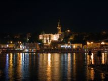 Water and light in Belgrade night. Water and light in the night, Sava river in Belgrade Royalty Free Stock Image