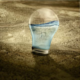 Water in light bulb on dried land. A new hope with clean water Royalty Free Stock Image