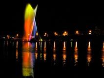 Water and light in the night. Lake Ada Ciganlija in Belgrade, Serbia Royalty Free Stock Images