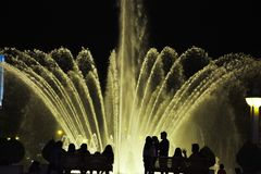 Water light show in Lima city royalty free stock images