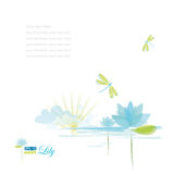 Water Lili and dragonfly stock illustration