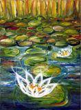 Water Lilies. Oil on canvas painting of water lilies Stock Photos