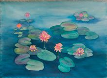 Waterlily and Lily Pads in a Pond - Original Watercolor Painting