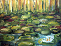 Water Lilies. Painting detail. Painting detail of artistic painting with water lillies Royalty Free Stock Photo