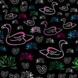 Water Lilly en zwaan-Liefde Aard, naadloos herhalingspatroon vector illustratie
