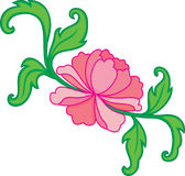 Water lily. Oriental pink flowers with leaf royalty free illustration