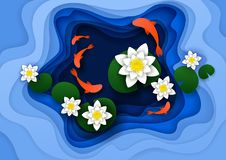 Water lily background vector paper art illustration. Abstract floral background with lotus water lily flowers, koi fish, water pond. Vector illustration in paper Stock Images
