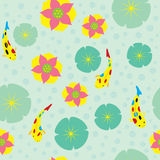 Water Lily Fish Pattern Royalty Free Stock Photo