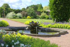 Water lily fountain. In the grounds of an English Stately Home gardens Stock Images
