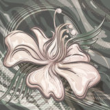 The water lily. Illustration with water lily against wavy background drawn in retro style with use halftone patterns Stock Image