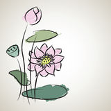 Water lily pattern of illustrator sketching. Created stock illustration