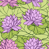 Water lily seamless ornament Stock Photo