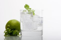 Water and lime. Glass of water with piece of lime Royalty Free Stock Photography