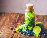 Water with Lime, Mint and Blueberry. Stock Photography