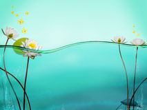 Water line. A cross cut view of clean water with water lilies a lily pad and a freshwater turtle swimming on the bottom.  Yellow butterflies flit about above the Stock Photography
