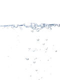 Water line with bubbles. Isolated on pure white background Stock Images