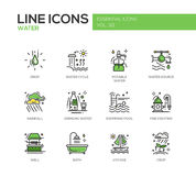 Water - line design icons set. Water - modern vector line design icons and pictograms set. Drop, water cycle, potable, drinking water, source, rainfall, swimming Royalty Free Stock Photo