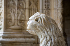 Water lion in the beautiful Jeronimos Monastery in Lisbon, Belem Royalty Free Stock Photos