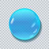 Water liquid vector drop. Blue water round drop vector illustration isolated on transparent bacground Royalty Free Stock Photo