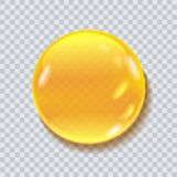 Water liquid vector drop. Honey round drop vector illustration isolated on transparent bacground. Liquid drop for food package, cosmetic desidn Stock Images