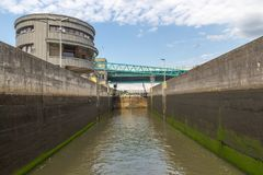 Water lock Filling the water on the river, the view from the inside royalty free stock photo