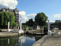 Water locks in Brentford Marina, London, UK Royalty Free Stock Photo