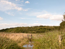 A water logged country walk meadow scene with wooden fence and g. Ate blocked; England; UK Stock Image