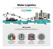 Water Logistics Flat Line Web Graphics Stock Image