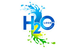 Water Logo. An illustration of a logo representing an abstract water splash and text Stock Photos