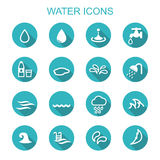 Water long shadow icons Royalty Free Stock Images
