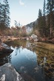 When the water is low, the Merced River looks super calm and peaceful Royalty Free Stock Images