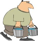 Water Man. This illustration depicts a man carrying two buckets of water Stock Photos