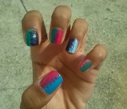 Water marble nail art. Cool nail art Royalty Free Stock Image