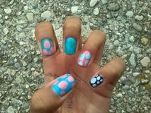 Water marble nail art Royalty Free Stock Photo