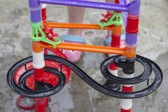 Water marble run. Marble run game played with water royalty free stock photos