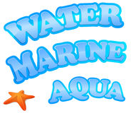 Water, marine and aqua sign Stock Images