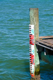 Water Mark Gage. On Fishing Pier stock image