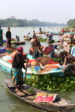 Water market number 2. Men selling their goods on a floating market in Bangladesh Royalty Free Stock Images