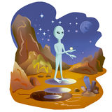 Water on Mars. Martian shows water in its hand. NASA Royalty Free Stock Photography