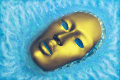 Water Mask A. Illustration of golden facial mask locked in ice giving off steam and staring upward Stock Photos