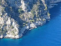 Water mediterranean sea coast high view. Water coast high view canyon fethiye turkey Stock Image