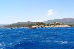 Water of Mediterranean Sea off Turkish coast Stock Image
