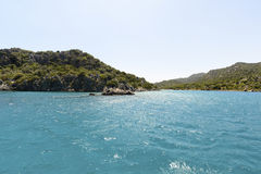 Water of Mediterranean Sea off the Turkish coast Stock Photography