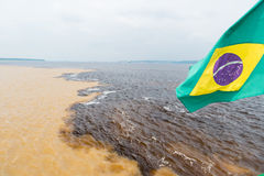 Water meeting in brazil -amazon river with rio del negro Royalty Free Stock Photo