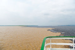 Water meeting in brazil -amazon river with rio del negro Stock Photos