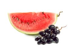 Water melon. Slice of fresh water melon  with grape,  isolated Stock Photos