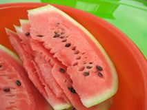Water-melon. Sweet and tasty water-melon pieces, close up Royalty Free Stock Photography