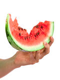 Water-melon. Hand with water-melon isolated on white Stock Photo