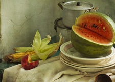 Water-melon and apple Stock Images