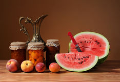 Water melon and apricot Stock Image